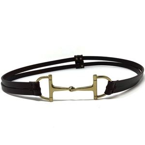 Vintage Horsebit Belt Genuine Leather Gold Brown